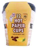 24 Units of PRIDE HOT PAPER CUP 16 OUNCES 12 CUPS + 12 LIDS - Disposable Cups
