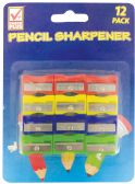 48 Units of PENCIL SHARPENER 12 COUNT SQUARE ASSORTED COLORS