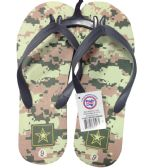 24 Units of MEN'S FLIP FLOP CAMOUFLAGE ASSORTED SIZES 8-13 AND COLORS