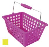 24 Units of STORAGE BASKET WITH HANDLE 9.50X7X5 INCHES ASSORTED COLORS