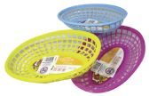 24 Units of FOOD BASKET OVAL 9.50X6.50X2 INCHES ASSORTED COLORS