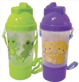 12 Units of STRAW BOTTLE WITH STRAP 12 OUNCES ASSORTED DESIGNS
