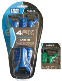 48 Units of FINE EDGE MEN'S TRIPLE BLADE RAZOR 4 PACK WITH LUBRICATING STRIP ASSORTED COLORS