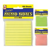 72 Units of STICKY NOTE LINED 100 COUNT 3 X 3 INCHES ASSORTED COLORS - Sticky Note/Notepads