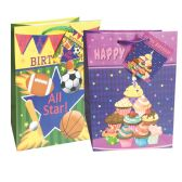48 Units of BIRTHDAY GIFT BAG 13 X 10.25 X 5 INCH LARGE ASSORTED DESIGNS - Gift Bags