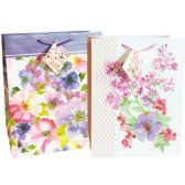 48 Units of FLORAL GIFT BAG 13 X 10.25 X 5 INCH LARGE ASSORTED DESIGNS - Gift Bags