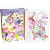 48 Units of FLORAL GIFT BAG 9 X 7 X 4 INCH MEDIUM ASSORTED DESIGNS - Gift Bags
