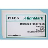 50 Units of LOOSE MEMO SHEETS REFILLS 500 PCS 3 X 5 INCH WHITE - PAPER