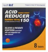 24 Units of ACID REDUCER TABLETS 8 CT 150 MG COMPARE TO ZANTAC EXP 09/2017