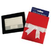 48 Units of GIFT CARD HOLDER WITH WHITE BOW 4.5 X 3.5 INCH RED - Card Holders and Address Books