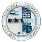 12 Units of MODERNWARE PAPER PLATES 48 CT 7 INCH HEAVY DUTY MADE IN USA - Disposable Plates & Bowls