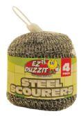 48 Units of STEEL SCOURER 4 PACK 15 GRAMS IN NET BAG - Scouring Pads & Sponges