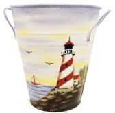 12 Units of DECORATIVE TIN BUCKET SET 7 TALL X 6 WIDE HAND PAINTED LIGHT HOUSE THEME W/ HANDLES
