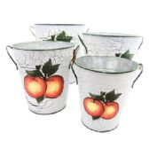 8 Units of DECORATIVE TIN BUCKET SET 4 SIZES HAND PAINTED PEACH DES. 8.50TALLX7.50WIDE7.5 TALLX7WIDE6.50TALL X6 WIDE6TALLX5WIDE