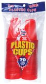 36 Units of PRIDE PLASTIC CUP 70 CT 7 OZ RED