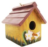 24 Units of HANGING BIRD HOUSE 3.5 INCH TALL WOOD