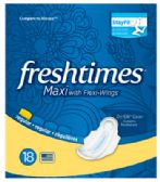 12 Units of FRESHTIMES MAXI PADS 18 COUNT WITH WINGS REGULAR