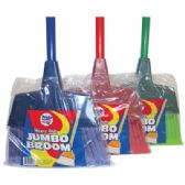 24 Units of HEAVY DUTY BROOM 11 INCH WITH 43 INCH HANDLE JUMBO ASSORTED COLORS