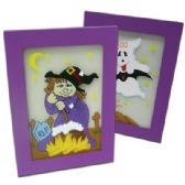 48 Units of HALLOWEEN HAND PAINTED GLASS FRAMES 7.5x5.5 INCH ASSORTED PREPRICED AT $2.99