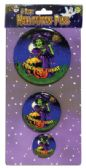 72 Units of HALLOWEEN BUTTON PINS 3.5 2.5 AND 1.5 INCH PREPRICED AT $2.99