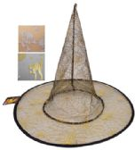48 Units of HALLOWEEN HAT WITH GOLD PRINTING 15 INCH ASTD DESIGNS - Halloween & Thanksgiving