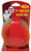48 Units of HEAVY DUTY SCOURER PADS 2 PACK 4 INCH 3 IN 1 ASSORTED COLORS