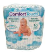 8 Units of COMFORT TOUCH DISPOSABLE DIAPERS 16 CT LARGE 22-35 LBS MADE IN USA