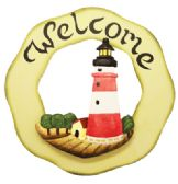 30 Units of WOODEN LIGHTHOUSE WELCOME SIGN DECO 12 INCHES DIAMETER HAND PAINTED