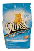 4 Units of 9 LIVES DRY CAT FOOD 3.15 LB DAILY ESSENTIALS