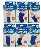 48 Units of ELASTIC BANDAGES 6 ASSORTED ONE SIZE FITS ALL (ANKLE SUPPORT/ CALF SUPPORT/ ELBOW SUPPORT/ KNEE SUPPORT/ PALM SUPPORT AND WRIST SUPPORT) - Bandages and Support Wraps