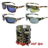 36 Units of CAMOUFLAGE SUNGLASSES UV 400 IN DISPLAY