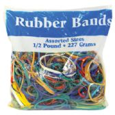 48 Units of RUBBER BANDS 8 OZ/1/2 POUND BAG ASSORTED SIZES AND COLORS MADE IN USA