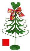 48 Units of MICKEY AND MINNIE METAL CHRISTMAS TREE 8 INCH WITH BOW RED/GREEN - Christmas Novelties