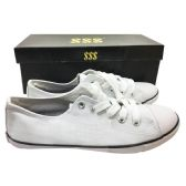24 Units of WHITE CANVAS SNEAKERS ASST SIZES 6-10 BOXED - Womens Sneakers