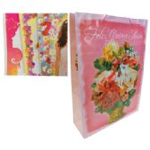 48 Units of FELIZ QUINCE ANOS GIFT BAG 13 X 17.5 X 4.5 INCH JUMBO 4 ASSORTED DESIGNS