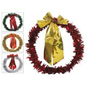 96 Units of CHRISTMAS TINSEL WREATH 14 INCH WITH BOW 4 ASSORTED COLORS GOLD SILVER RED GREEN