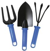 24 Units of GARDEN TOOLS 3PC METAL SET RAKE/TROWEL FORK 9-11 ASTD WITH BLUE PLASTIC HANDLE - Garden Tools