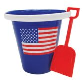 36 Units of PRIDE BEACH PAIL WITH SHOVEL 7 X 7 INCHES US FLAG DESIGN - BEACH TOYS