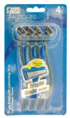 48 Units of FINE EDGE MEN'S TRIPLE BLADE RAZOR 4 PK WITH LUBRICATING STRIP