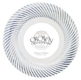 12 Units of CROWN DINNERWARE DESSERT PLATE 7 INCH 10 PACK DISTINCTIVE COLLECTION WHITE/SILVER