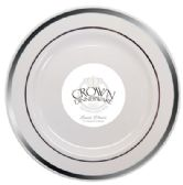 12 Units of CROWN DINNERWARE LUNCH PLATE 9 INCH 10 PACK EXECUTIVE COLLECTION WHITE/SILVER