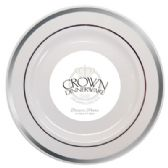 12 Units of CROWN DINNERWARE DESSERT PLATE 7 INCH 10 PK EXECUTIVE COLLECTION WHITE/SILVER - Disposable Plates & Bowls