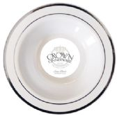 12 Units of CROWN DINNERWARE SOUP BOWL 10 PK 12 OZ EXECUTIVE COLLECTION WHITE/SILVER - Disposable Plates & Bowls