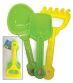 48 Units of PRIDE BEACH TOY SET 3PC SET 2 SHOVELS AND 1 RAKE - Beach Toys