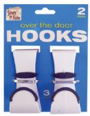 36 Units of OVER THE DOOR HOOK 2 PIECES 3 INCH PLASTIC