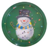 48 Units of PRIDE CHRISTMAS METAL ROUND TRAY 12 INCH SNOWMAN DESIGN