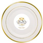12 Units of CROWN DINNERWARE DINNER PLATE 10 INCH 10 PACK EXECUTIVE COLLECTION WHITE/GOLD - Disposable Plates & Bowls