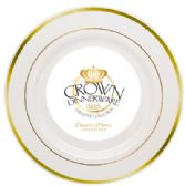 12 Units of CROWN DINNERWARE DESSERT PLATE 10 PK 7 INCH EXECUTIVE COLLECTION WHITE/GOLD - Disposable Plates & Bowls
