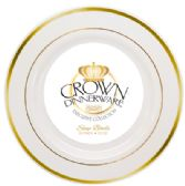 12 Units of CROWN DINNERWARE SOUP BOWL 10 PK 12 OZ EXECUTIVE COLLECTION WHITE/GOLD - Disposable Plates & Bowls
