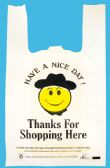 SHOPPING BAGS 400 COUNT 10 X 5 X 18 INCH SMILEY FACE WITH THANK YOU PRINT WHITE